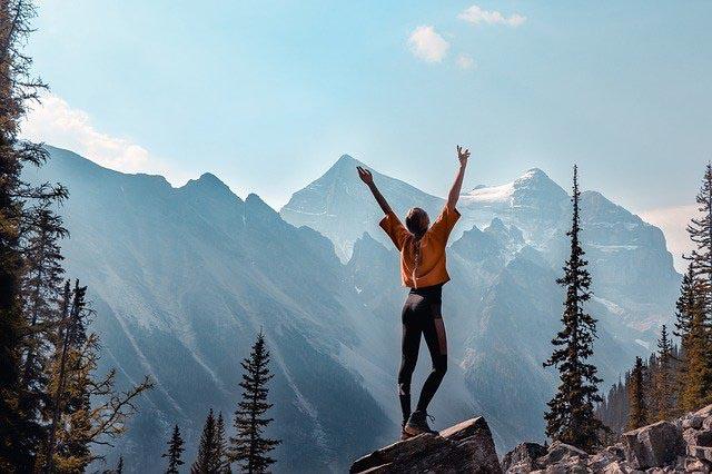 Hiking in wilderness